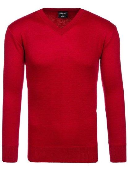 Sweter męski w serek czerwony Denley s001