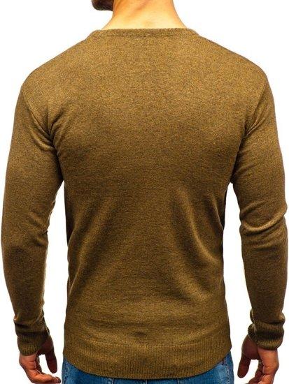 Sweter męski w serek khaki Bolf 6002