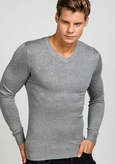 Sweter męski w serek szary Denley 6002