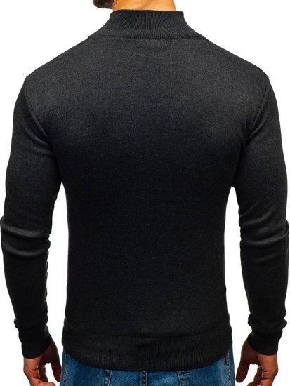 Sweter męski ze stójką grafitowy Denley BM6043