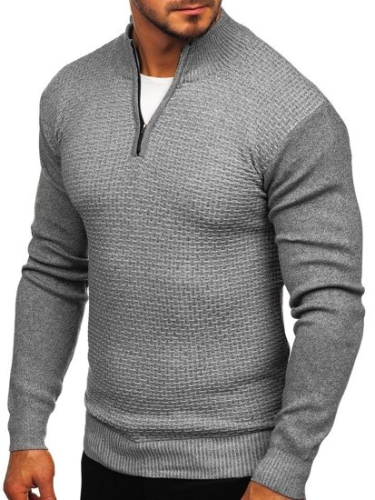 Sweter męski ze stójką rozpinany szary Denley 8255