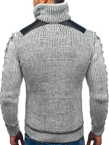Sweter męski ze stójką szaro-czarny Denley 20010