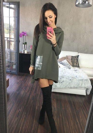 Sweter tunika damska khaki Denley 02
