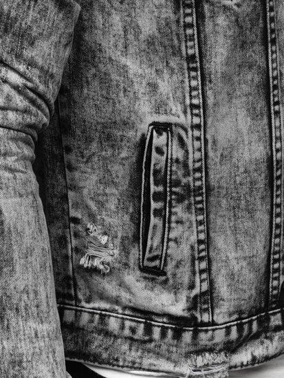 Szara jeansowa kurtka męska Denley AK588