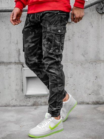 Szare spodnie joggery bojówki męskie moro Denley CT6019