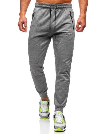 Szare spodnie męskie dresowe Denley JX8201