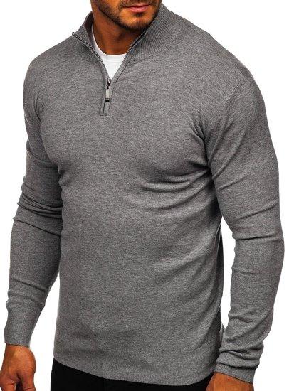 Szary ze stójką sweter męski Denley YY08