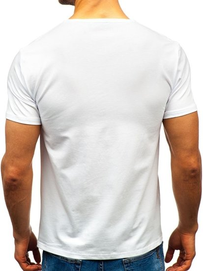 T-shirt męski bez nadruku biały Denley 9001