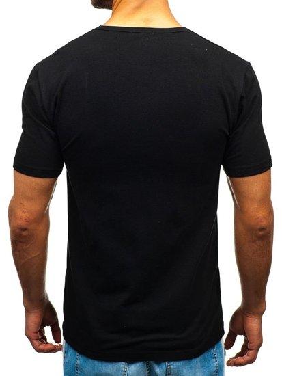 T-shirt męski bez nadruku czarny Denley T1280