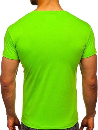 T-shirt męski bez nadruku jasnozielony Denley 2005