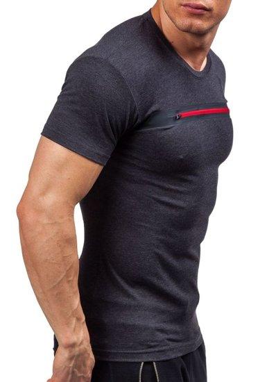 T-shirt męski z nadrukiem antracytowy Denley 5118