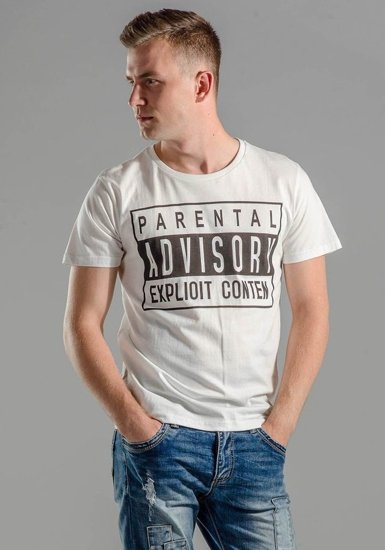 T-shirt męski z nadrukiem biały Denley 1939