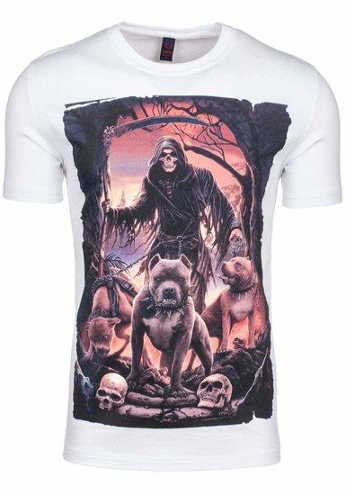 T-shirt męski z nadrukiem biały Denley 3218