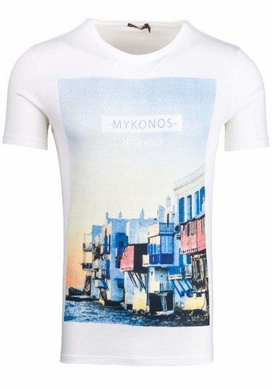 T-shirt męski z nadrukiem biały Denley 7483
