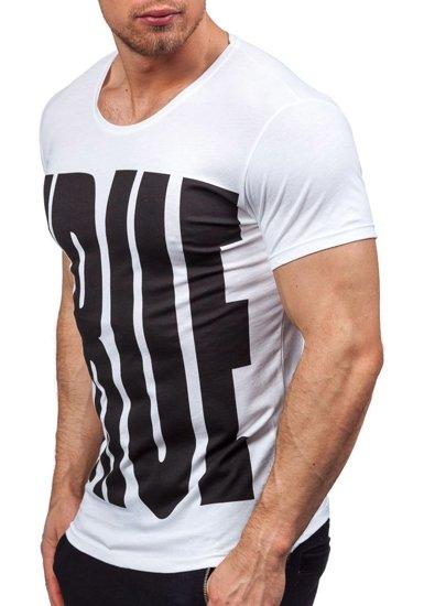 T-shirt męski z nadrukiem biały Denley 9018