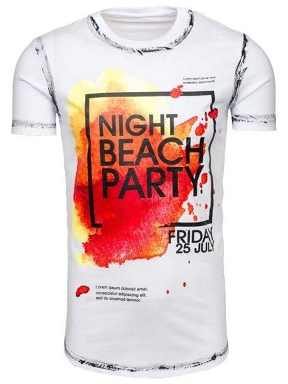 T-shirt męski z nadrukiem biały Denley s024