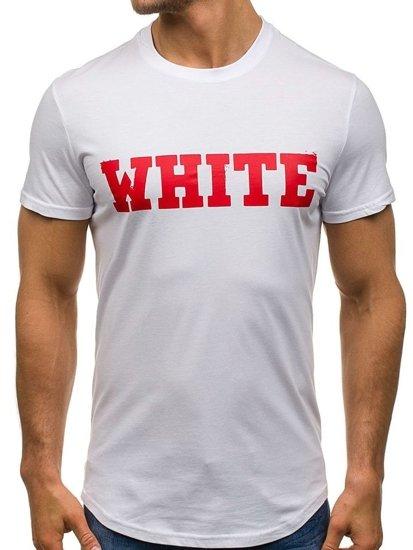 T-shirt męski z nadrukiem biały Denley s079