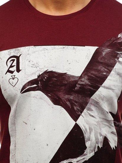 T-shirt męski z nadrukiem bordowy Denley 181210