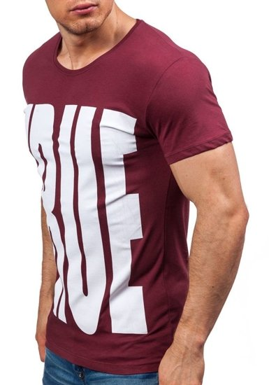 T-shirt męski z nadrukiem bordowy Denley 9018
