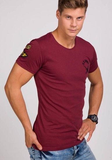 T-shirt męski z nadrukiem bordowy Denley 9021