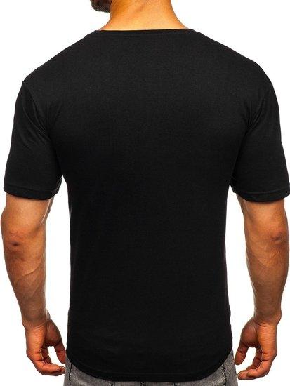 T-shirt męski z nadrukiem czarny Bolf 1181