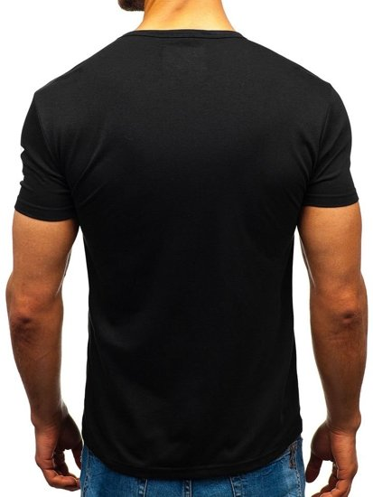 T-shirt męski z nadrukiem czarny Denley 100729