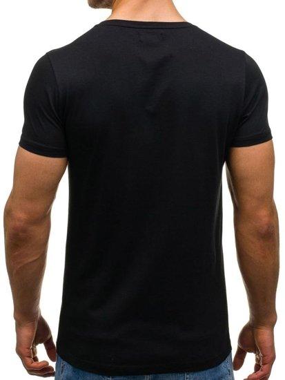T-shirt męski z nadrukiem czarny Denley 1014