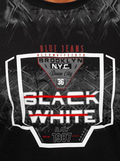 T-shirt męski z nadrukiem czarny Denley 14207