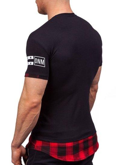 T-shirt męski z nadrukiem czarny Denley 5112