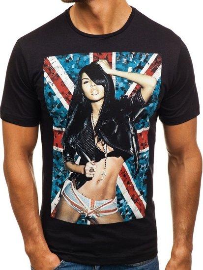 T-shirt męski z nadrukiem czarny Denley 6297