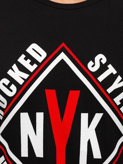 T-shirt męski z nadrukiem czarny Denley 6305