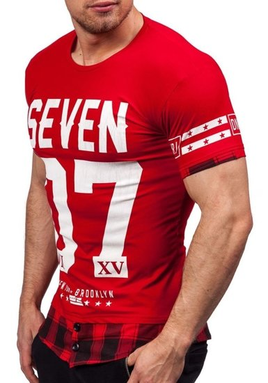 T-shirt męski z nadrukiem czerwony Denley 5112