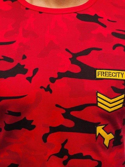 T-shirt męski z nadrukiem czerwony Denley SS331