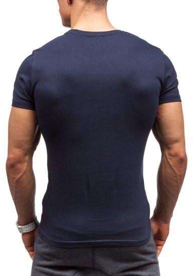 T-shirt męski z nadrukiem granatowy Denley 7427