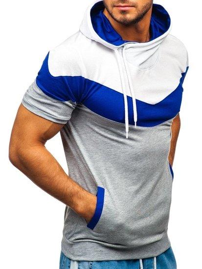 T-shirt męski z nadrukiem i kapturem szary Denley 9026
