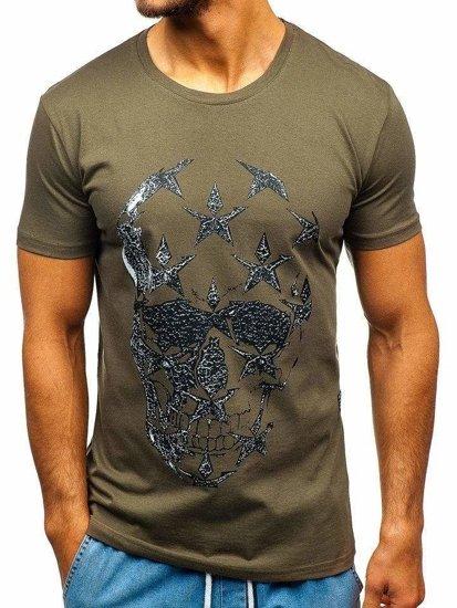 T-shirt męski z nadrukiem khaki Bolf 301
