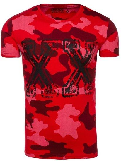 T-shirt męski z nadrukiem moro-czerwony Denley 2100