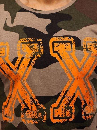 T-shirt męski z nadrukiem moro-zielony Denley 2100