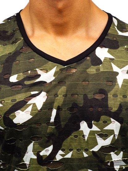 T-shirt męski z nadrukiem moro-zielony Denley 309