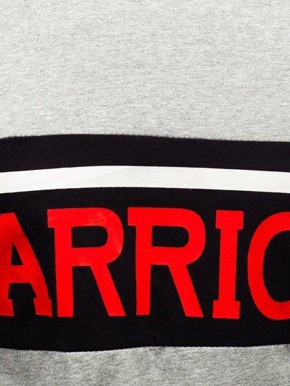 T-shirt męski z nadrukiem szary Denley 100701