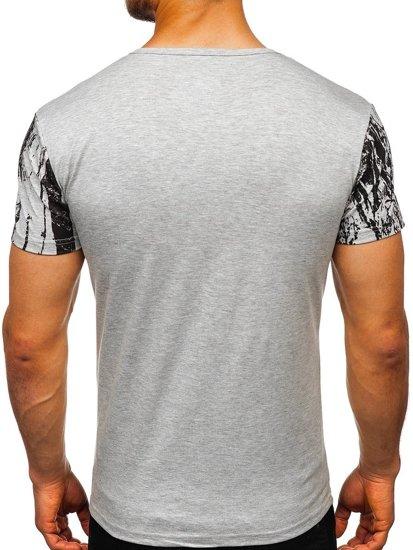 T-shirt męski z nadrukiem szary Denley SS671