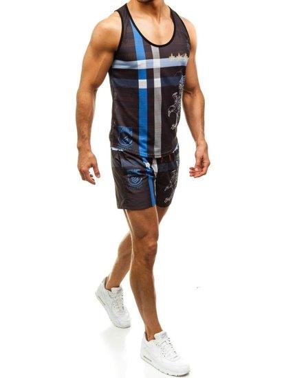 Zestaw plażowy męski: koszulka plażowa + spodenki kąpielowe czarno-niebieski Denley  2120