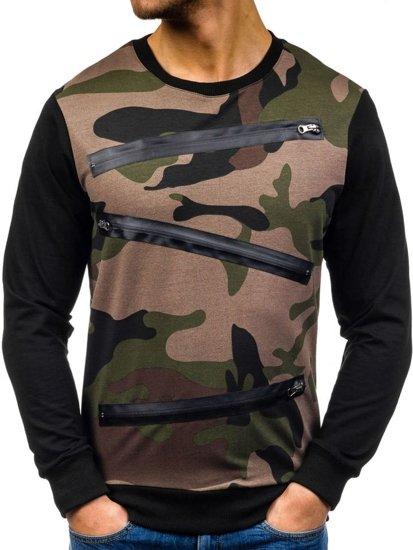 Zielono-czarna bluza męska bez kaptura moro Denley 0841