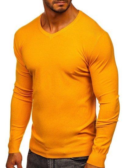 Zółty sweter męski w serek Denley YY03