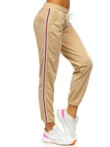 Beżowe spodnie dresowe damskie Denley YW01020A