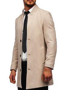 Beżowy płaszcz męski zimowy Denley 0010