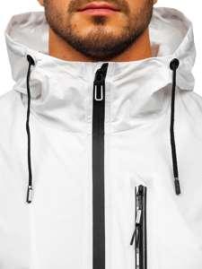 Biała przejściowa kurtka męska sportowa z kapturem Denley 6172