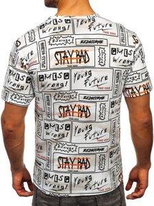 Biały T-shirt męski z nadrukiem Denley 14904