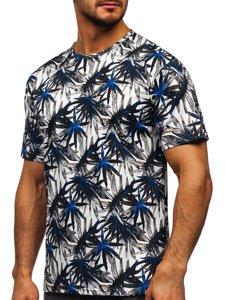 Biały T-shirt męski z nadrukiem Denley 14909