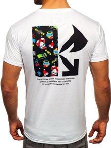 Biały T-shirt męski ze świątecznym nadrukiem Denley KS2511T